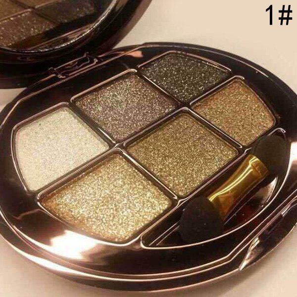 Cosmetic 6 Colours Sparkly Diamond Eye Shadow Palette with Mirror and Brush -