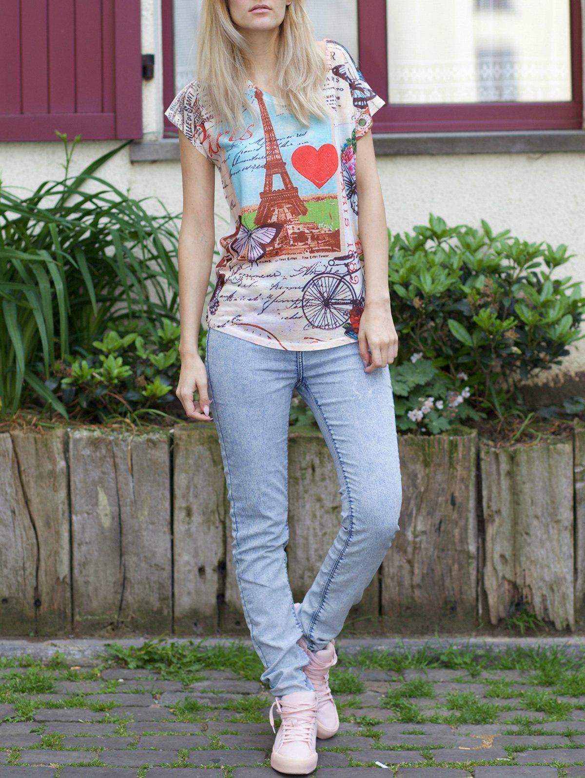 Casual Women's Scoop Neck Tower Print Short Sleeve T-Shirt - WHITE ONE SIZE(FIT SIZE XS TO M)