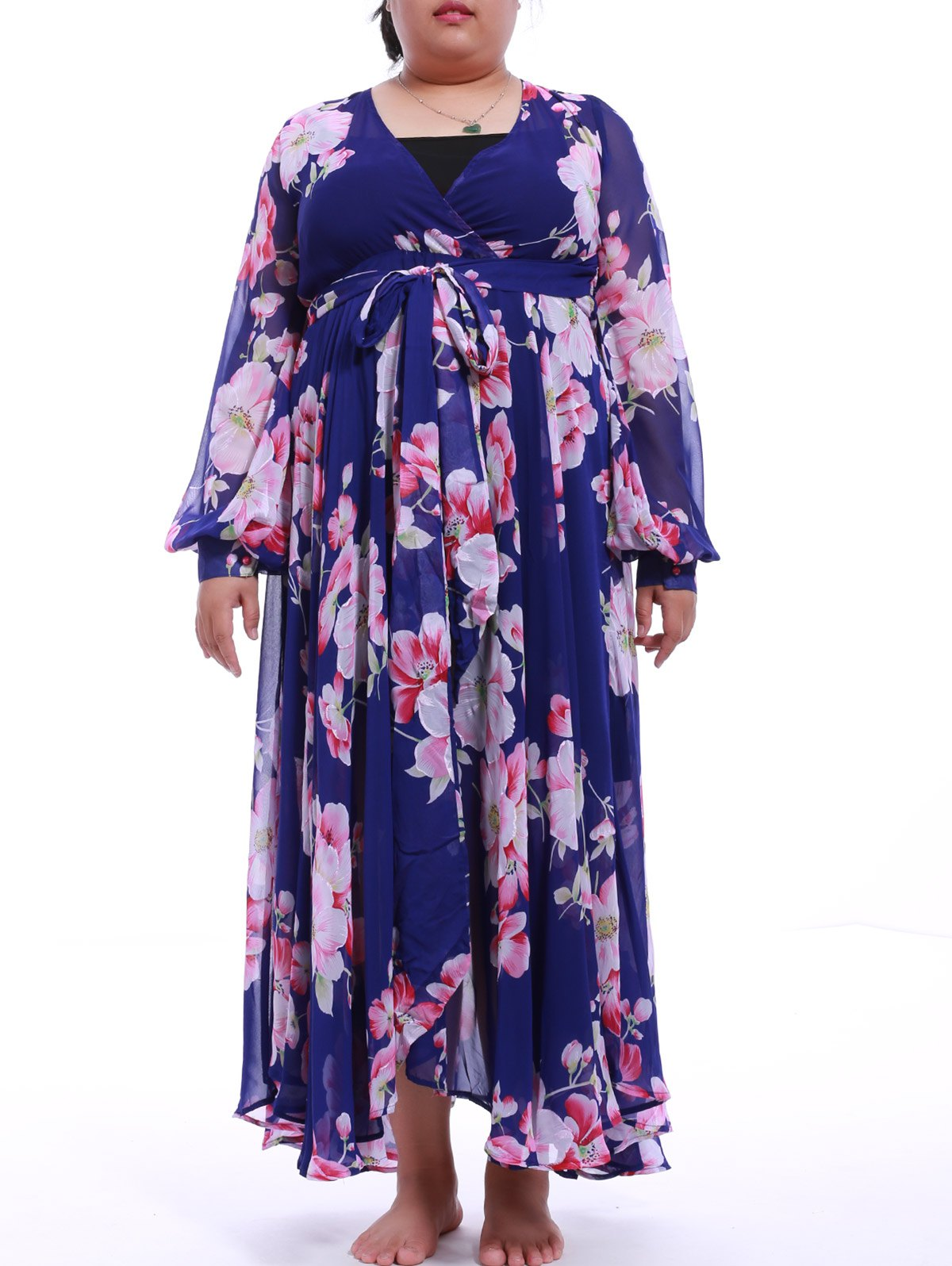 Plus Size Plunging Neck Print Chiffon Maxi Dress - BLUE L
