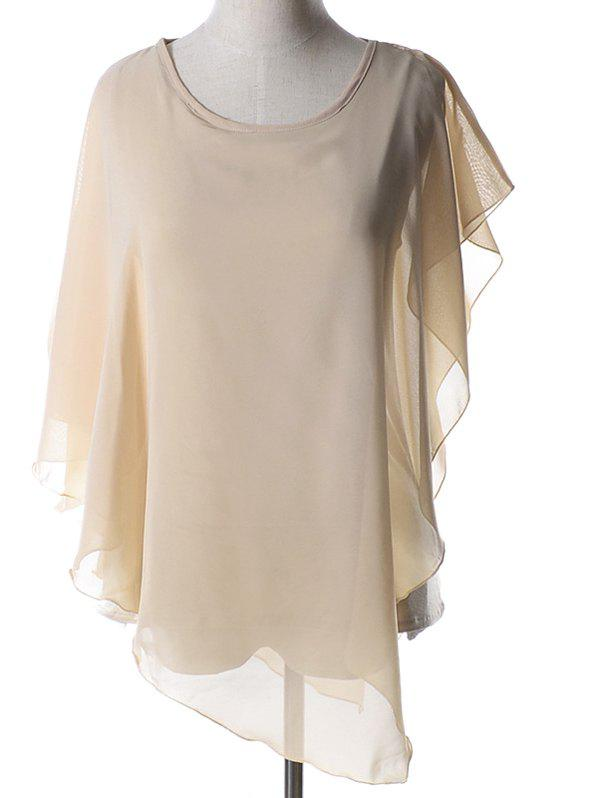 Elegant Women's Plus Size Jewel Neck Dolman Sleeves Asymmetric Blouse - NUDE XL