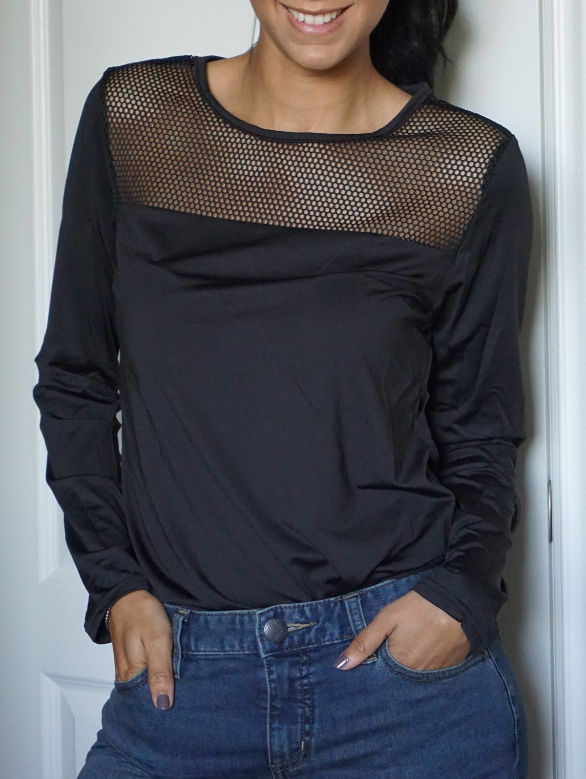 Casual Style Scoop Neck Long Sleeve Slimming Spliced Women's T-Shirt - BLACK M