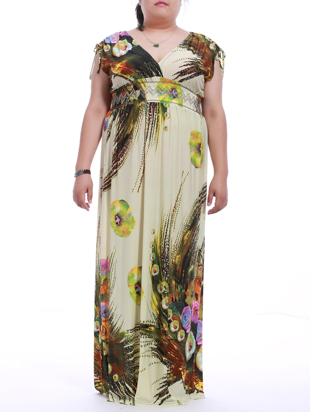Plus Size Sleeveless Print Maxi Dress - BEIGE M