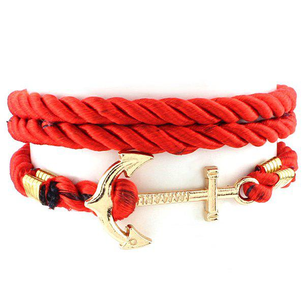 Punk Anchor Rope Chain Wrap Bracelet - RED