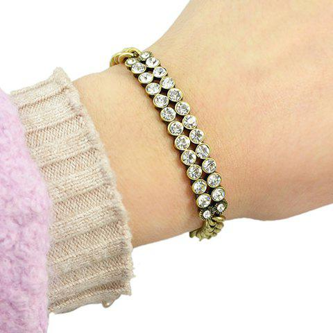 Chic Two Rows Round Rhinestones Embellished Women's Bracelet - GOLDEN