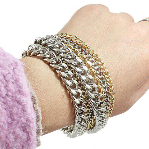 Chic Two Color Match Multilayered Women's Alloy Bracelet
