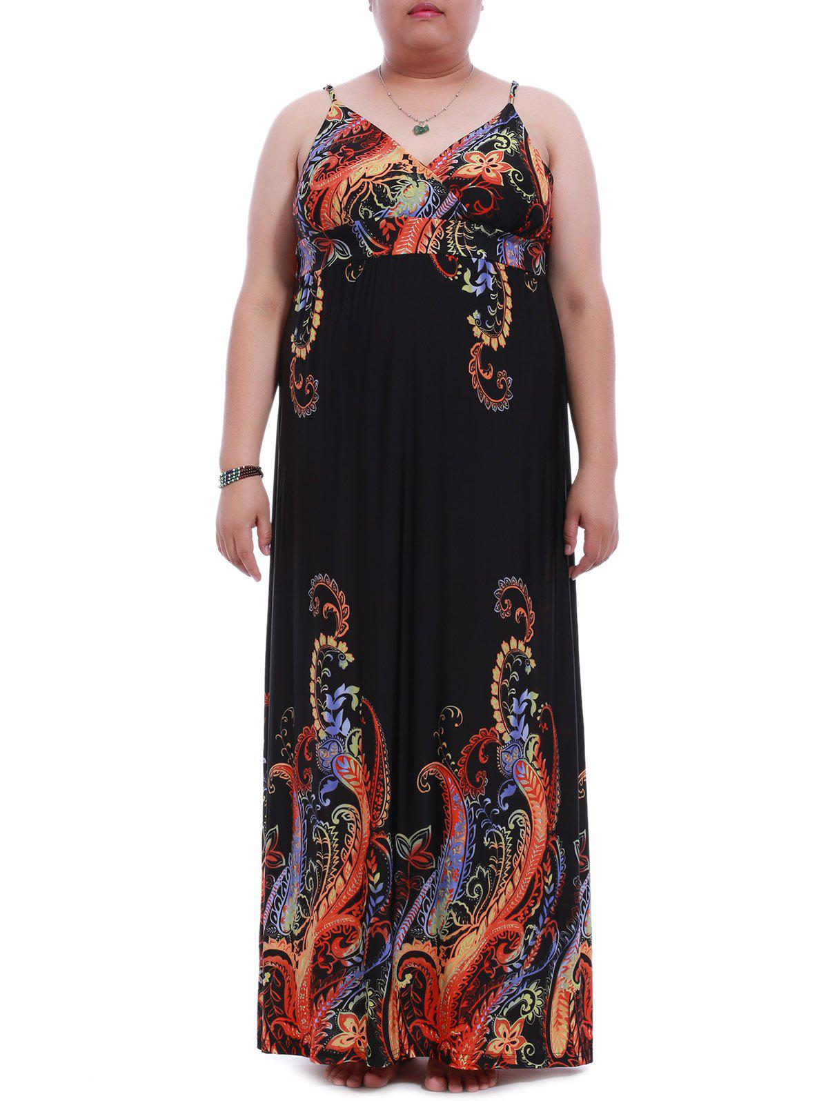 Charming Plus Size Spaghetti Strap Backless Print Dress For Women dux