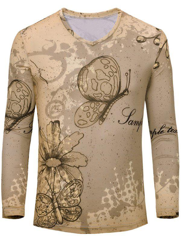 Casual Butterfly Printed Men's Long Sleeves T-Shirt - EARTHY S