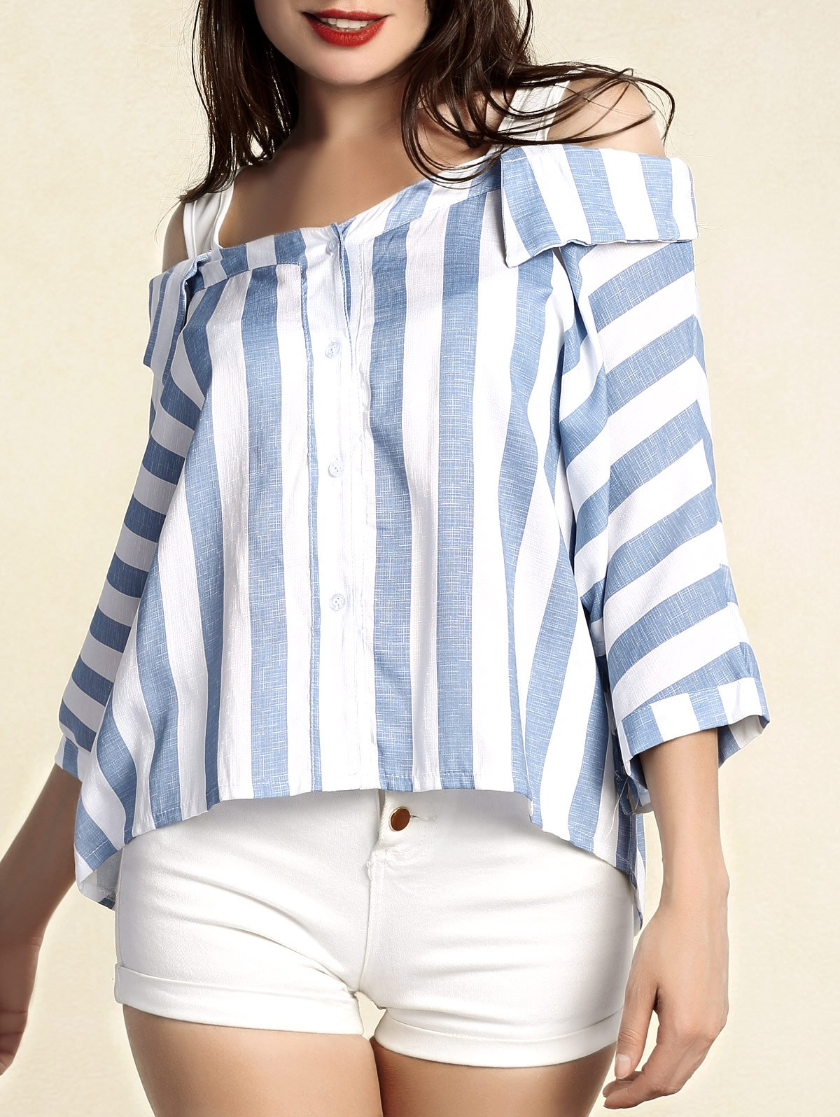 Chic Women's Striped 3/4 Sleeve Cut Out Blouse - BLUE 4XL
