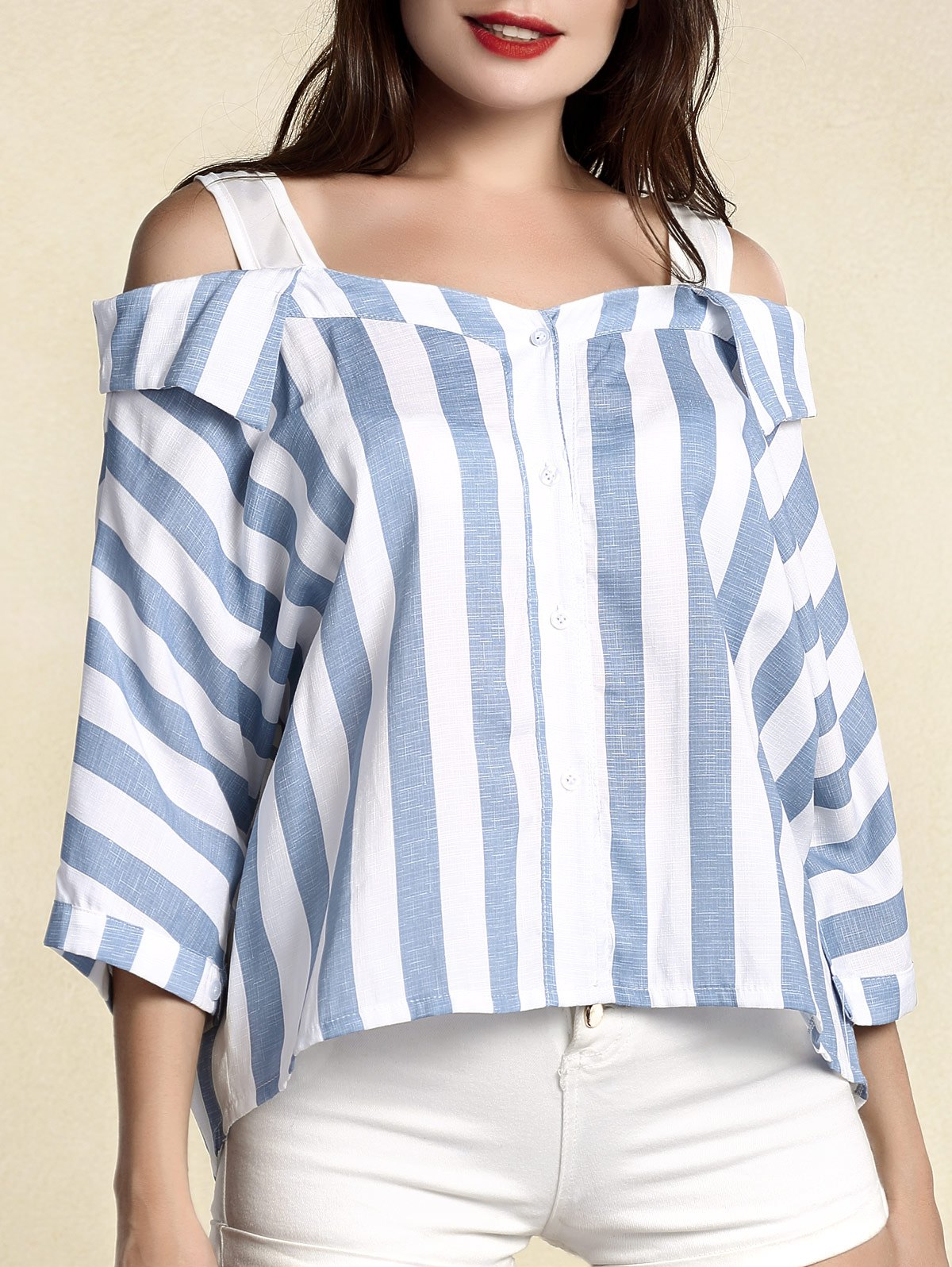Chic Women's Striped 3/4 Sleeve Cut Out Blouse - BLUE XL