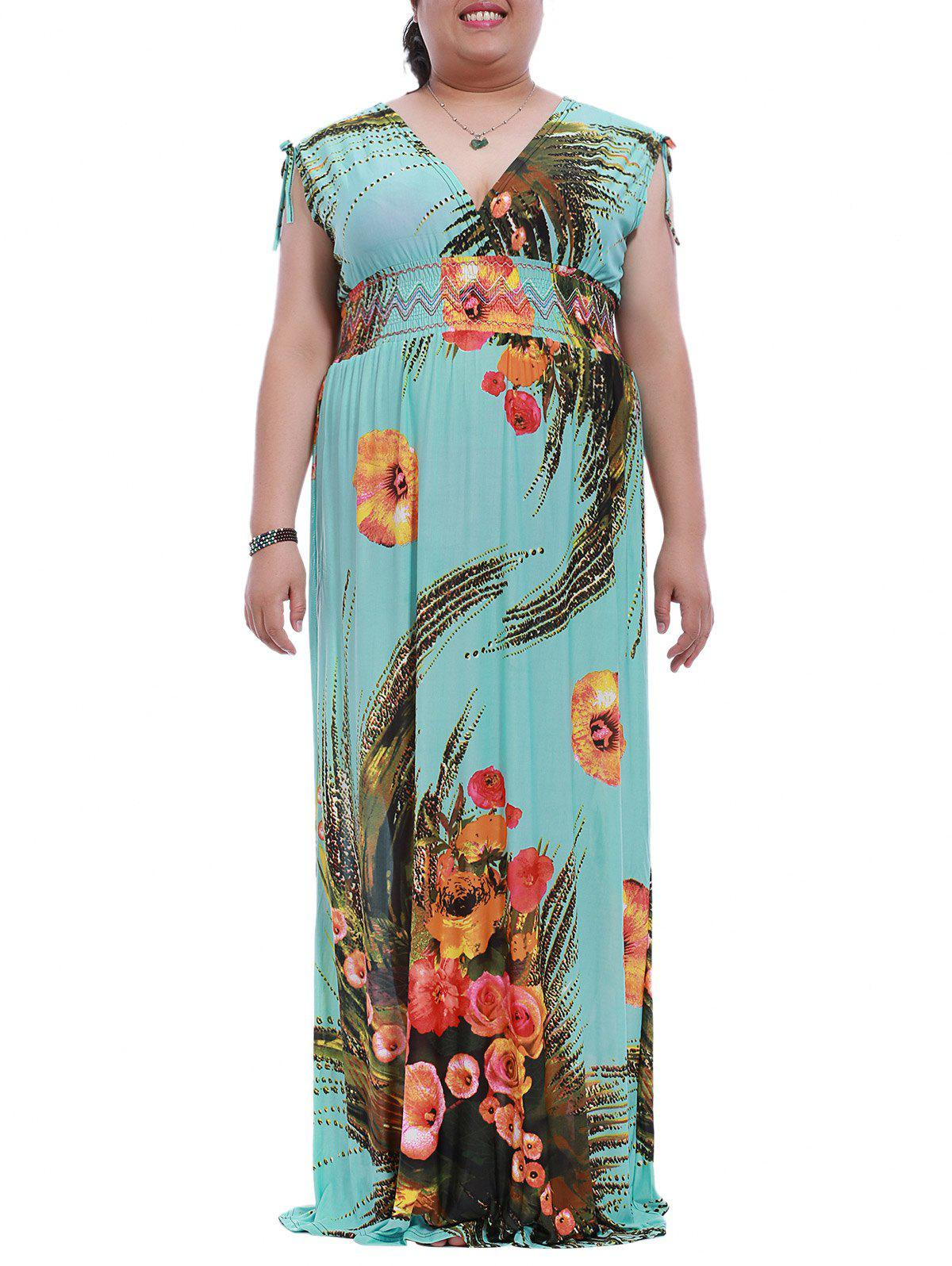 Plus Size V-Neck Mock Waist Print Maxi Dress - LAKE BLUE M