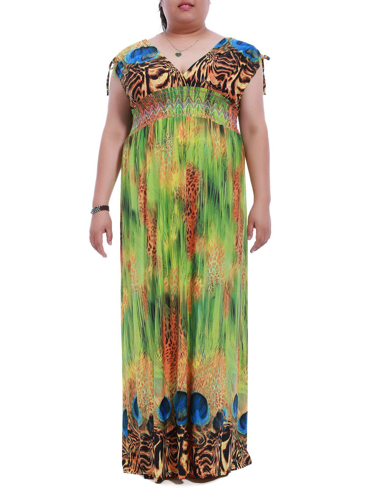 Chic Plus Size Plunging Neck Sleeveless Backless Leopard Print Dress For Women