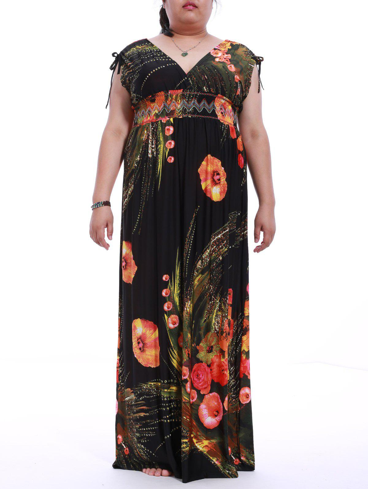 Chic Plus Size Plunging Neck Sleeveless Backless Print Dress For Women