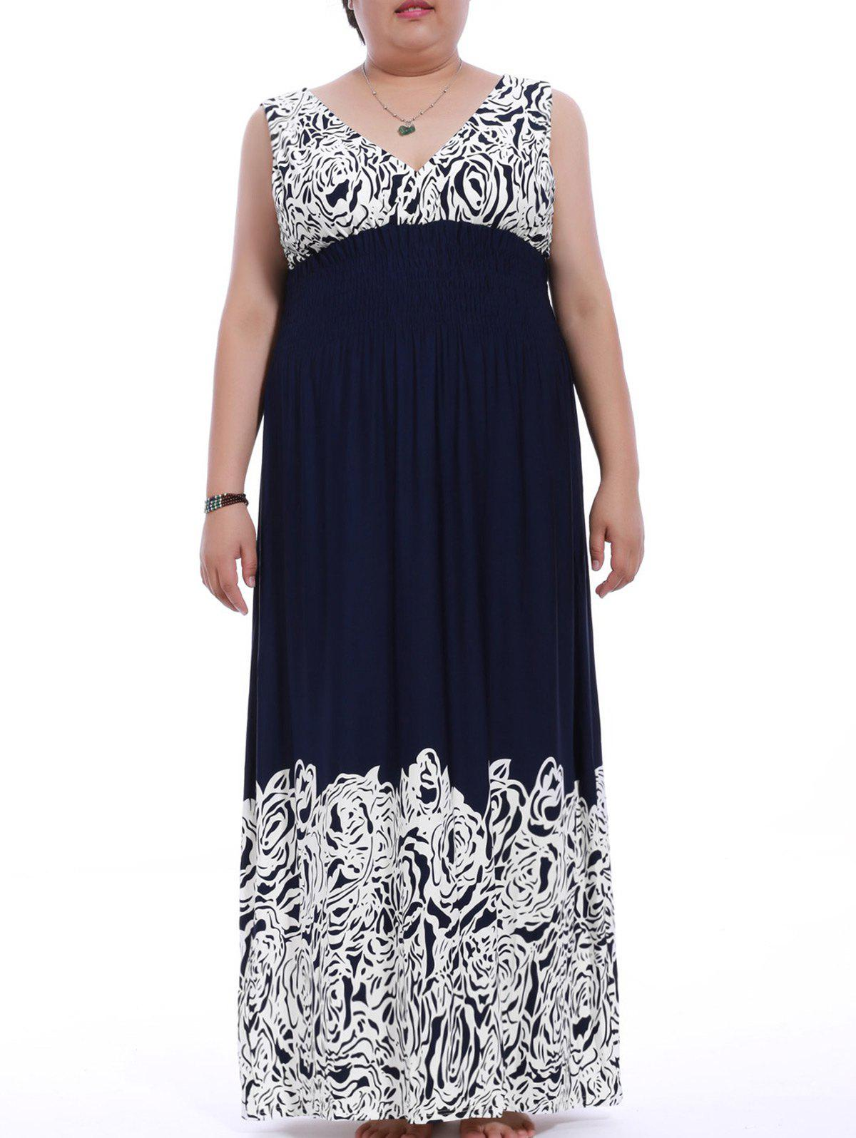 Graceful Plus Size Plunging Neck Backless Flower Print Dress For Women