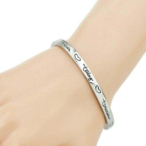 Stylish Letter and Heart Carve Embellished Cool Men's Cuff Bracelet - SILVER