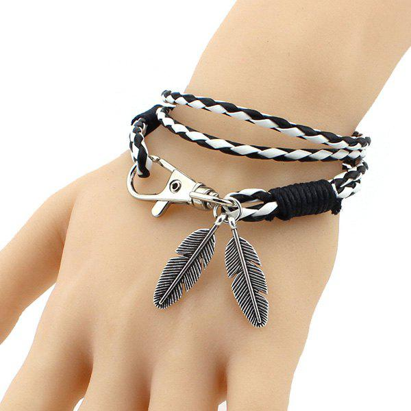 Simple Key Chain Feather PU Leather Knitted Wrap Bracelet