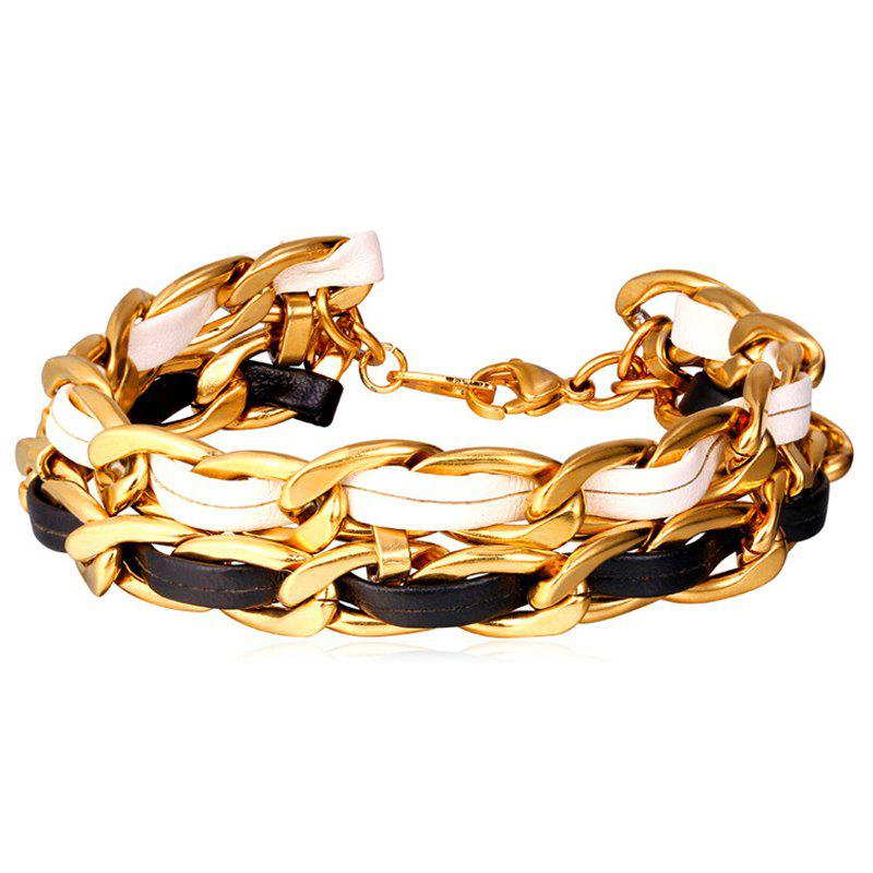 Chic Artificial Leather Chain Bracelet For Men - GOLDEN
