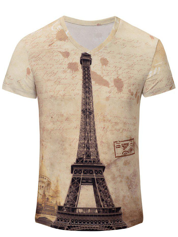 Iron Tower Print Color Block V-Neck Short Sleeve Men's T-Shirt