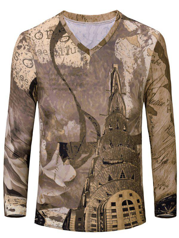 Casual Printing Men's Long Sleeves T-Shirt - BROWN S