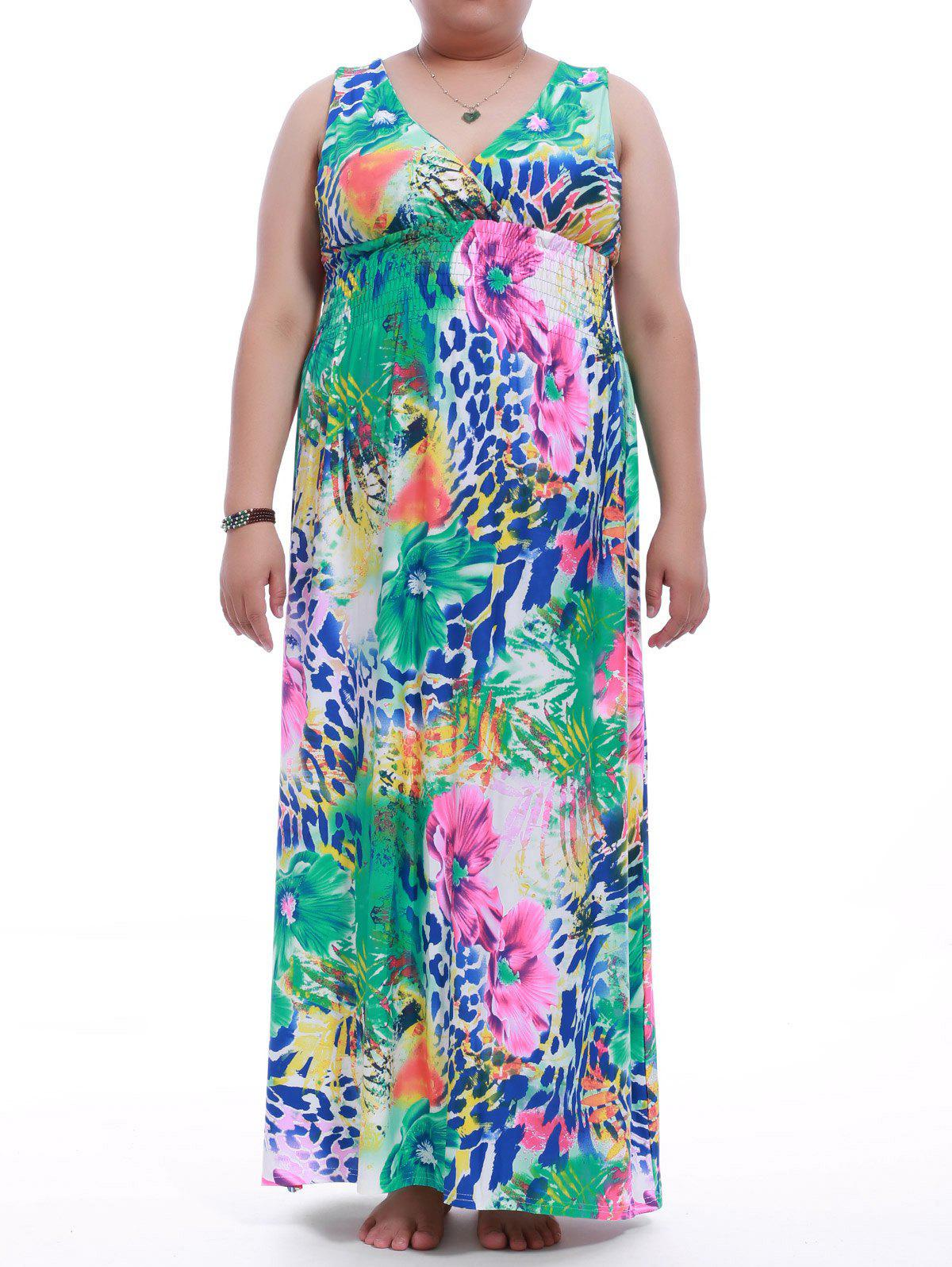 Plus Size V-Neck Floral Print Maxi Dress - COLORMIX XL