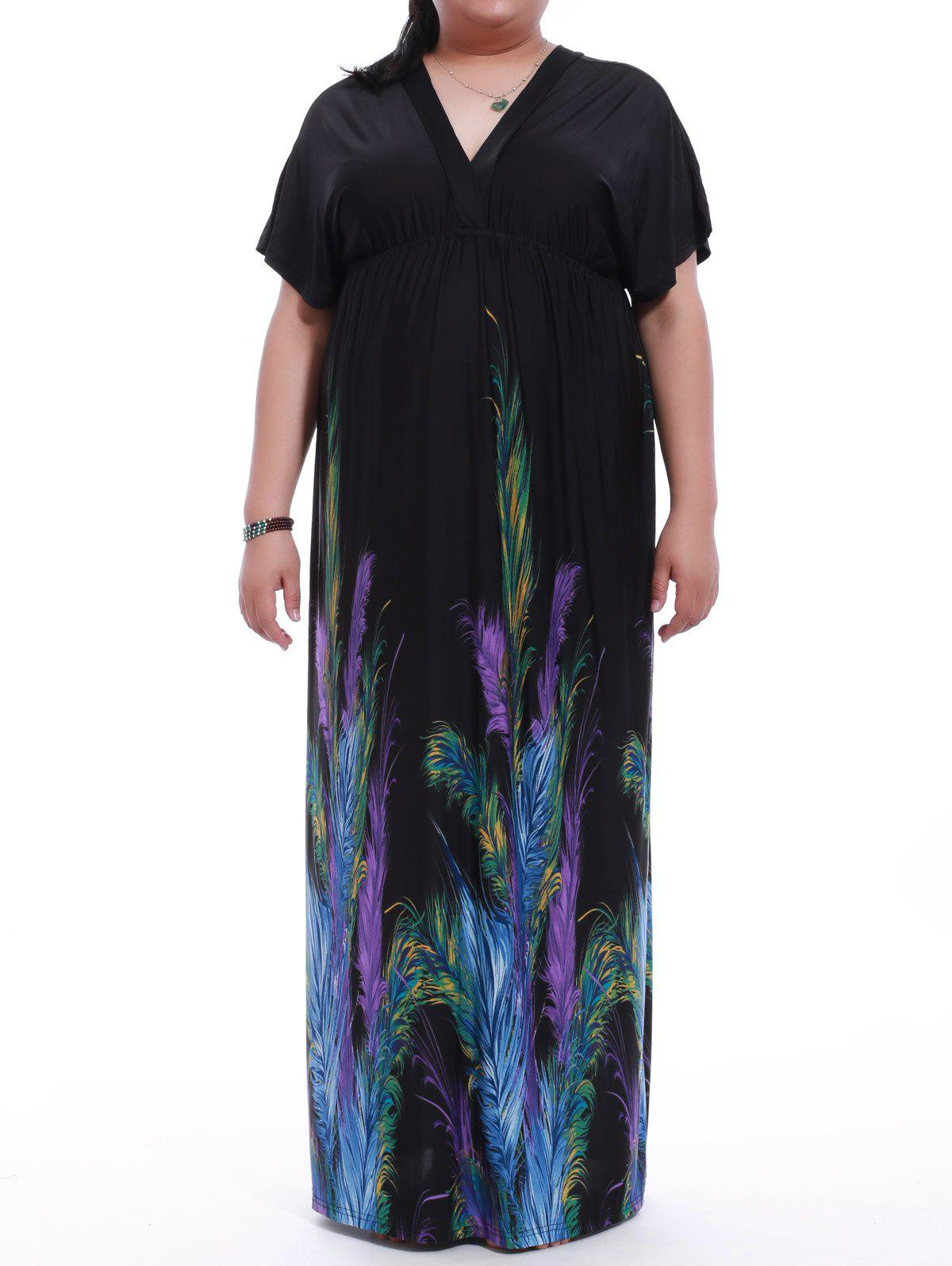 Simple Style Plus Size Plunging Neck Backless Print Dress For Women