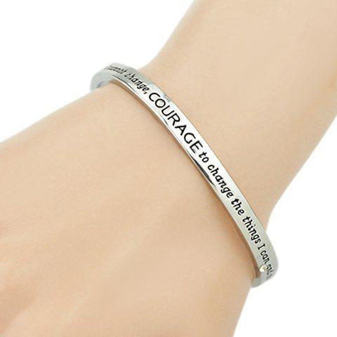 Letters Engraved Alloy Cuff Bracelet - SILVER