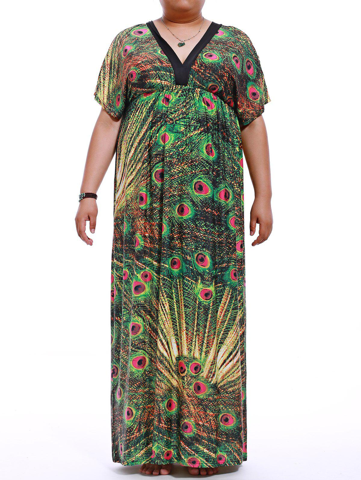 Plus Size Empire Waist Print Maxi Dress - GREEN M