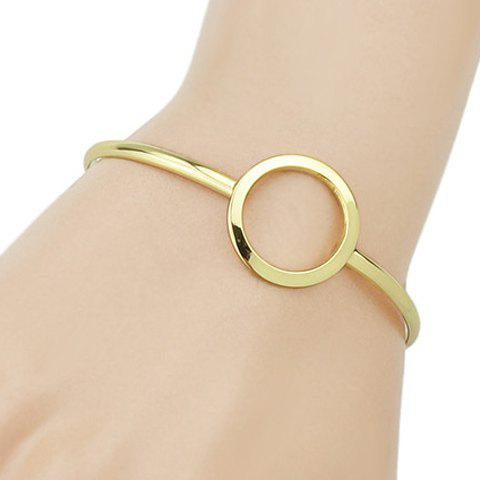 Hollow Round Embellished Plated Cuff Bracelet - GOLDEN