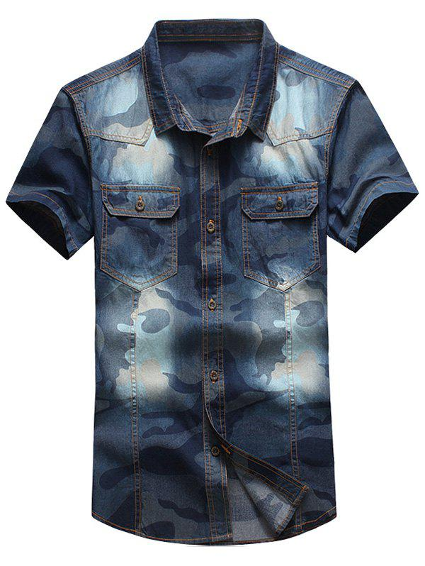 Plus Size Turn-Down Collar Short Sleeve Denim Men's Shirt - BLUE 2XL