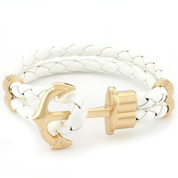 Retro Multilayer Anchor PU Leather Knitted Bracelet
