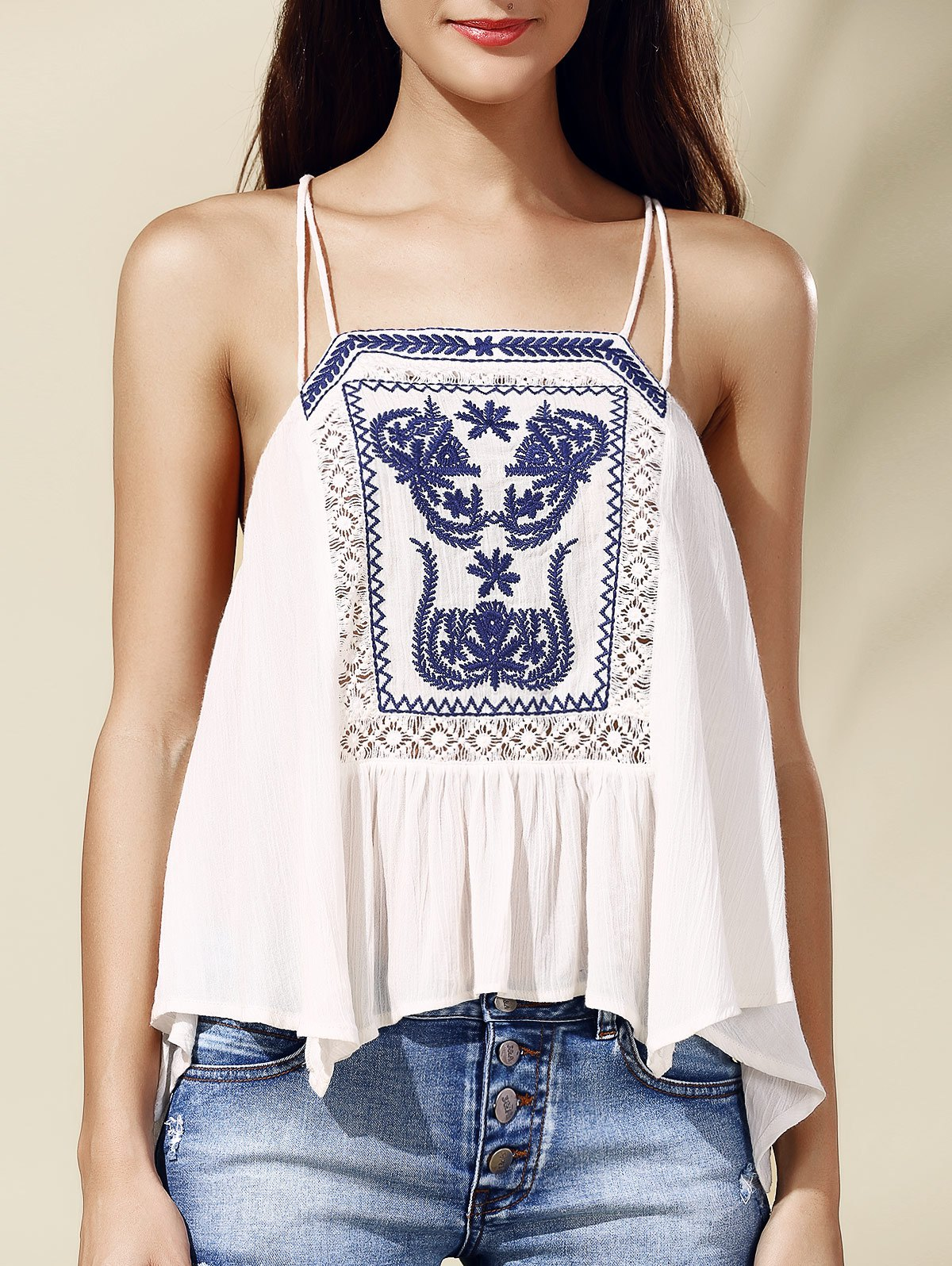 Ethnic Style Women's Spaghetti Strap Embroidered High Low Tank Top - WHITE ONE SIZE(FIT SIZE XS TO M)