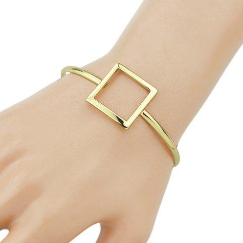Chic Hollow Square Embellished Women's Golden Cuff Bracelet