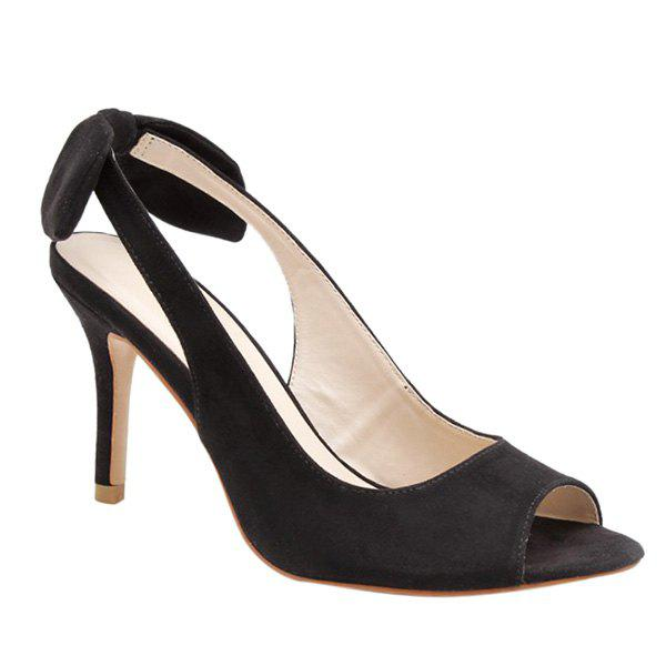 Graceful Slingback and Bow Design Women's Peep Toe Shoes - BLACK 38