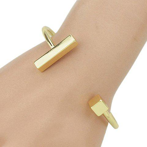 Rectangle Quadrate Shape Embellished Plated Cuff Bracelet - GOLDEN