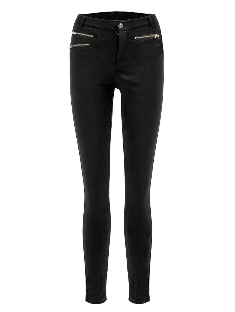 Trendy Solid Color Skinny Slimming Zipper Design Women's Pants - BLACK S