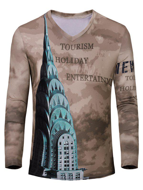 Casual Letters Printing Men's Long Sleeves T-Shirt - BROWN S
