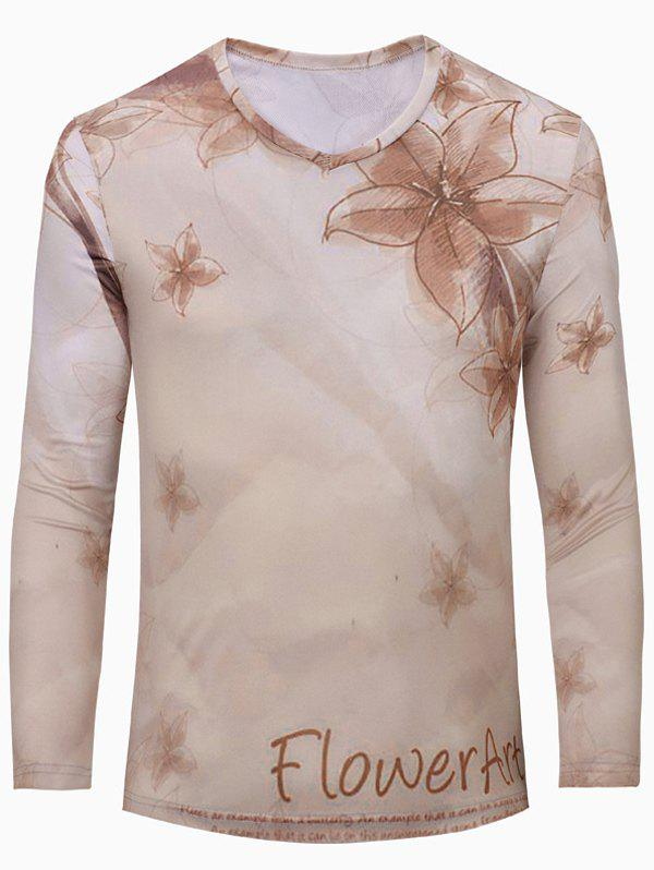 Casual Flower Printing Men's Long Sleeves T-Shirt - NUDE S