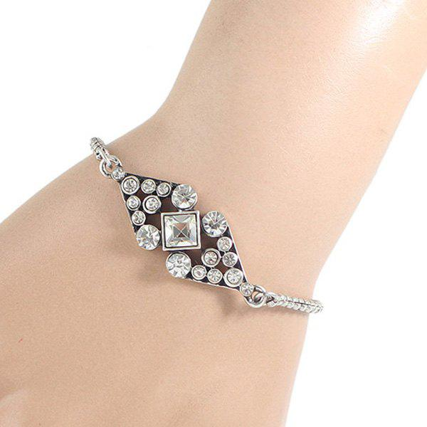 Rhinestone Hollow Out Bow Bracelet - SILVER