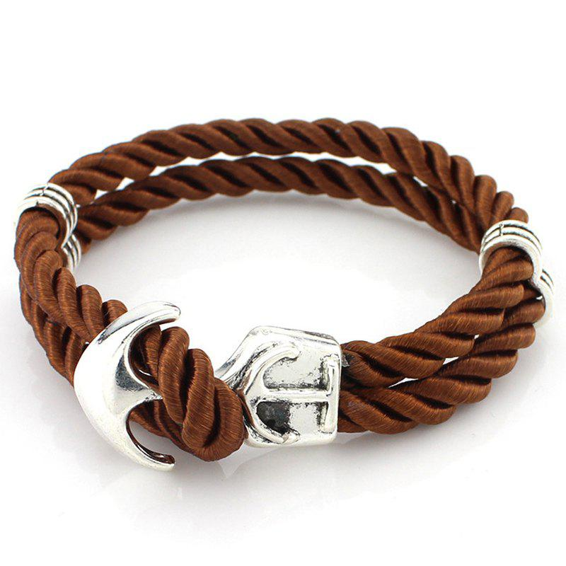 Retro Multilayer Anchor Knitted Bracelet - BROWN