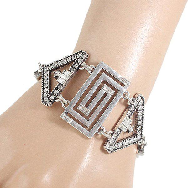 Rhinestone Hollow Out Geometry Chunky Bracelet -  SILVER
