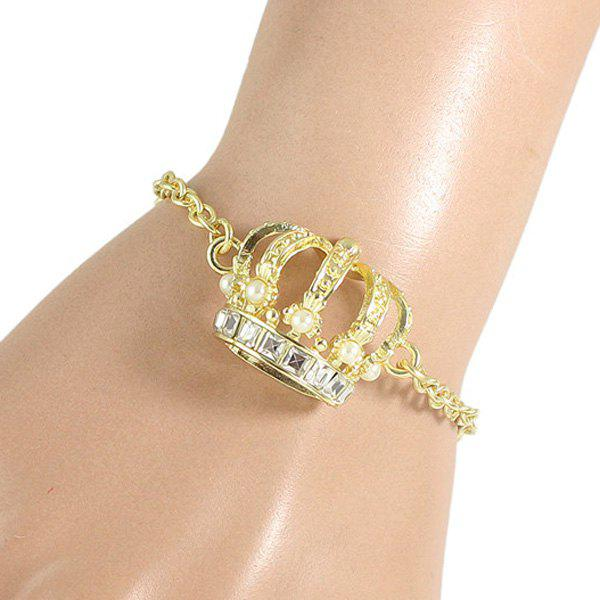 Chic Faux Pearl and Hollow Out Crown Embellished Women's Golden Bracelet
