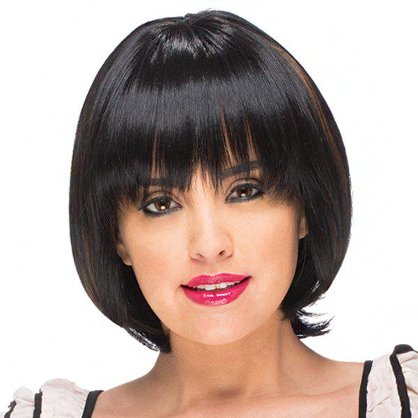 Trendy Full Bang Brown Highlight Capless Bob Style Short Straight Women's Synthetic Wig - BLACK