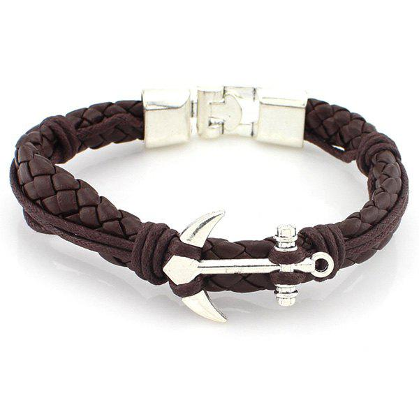 Punk Anchor Braided PU Leather Bracelet - BROWN