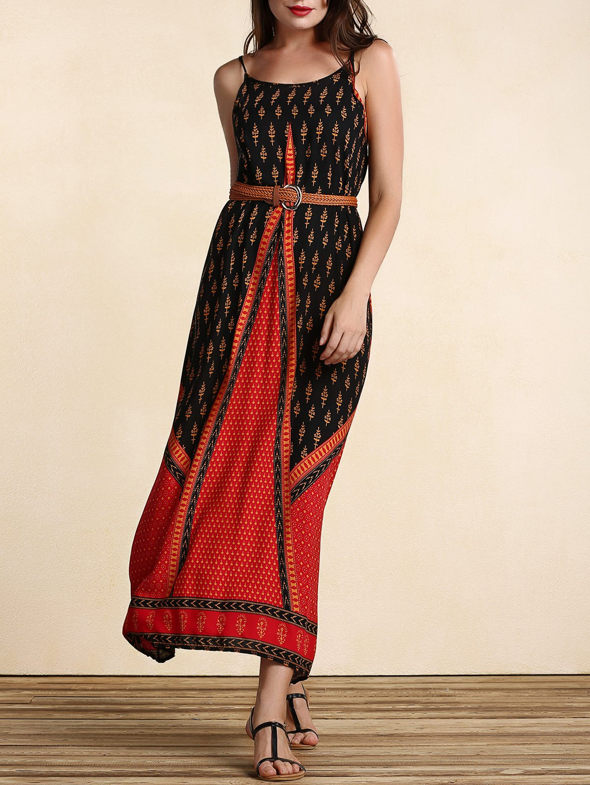 Chic Women's Belted Ethnic Print Dress - WINE RED S