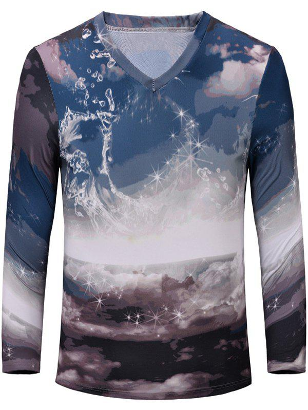 Trendy Printing Long Sleeves Men's T-Shirt - S COLORMIX