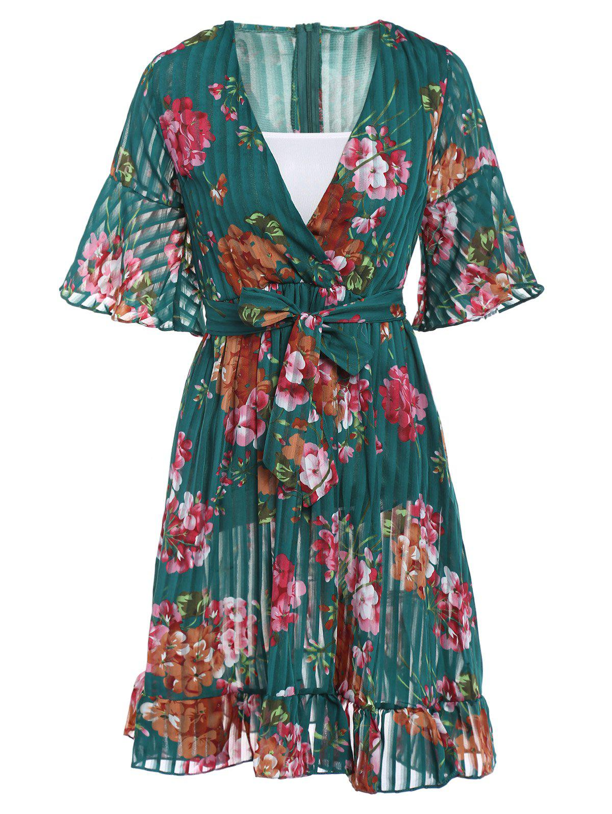 Stylish Women's Flare Sleeve V-Neck Floral Print Dress - GREEN ONE SIZE(FIT SIZE XS TO M)