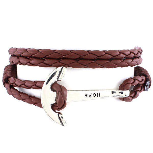 Retro Multilayer Anchor Letters PU Leather Knitted Wrap Bracelet