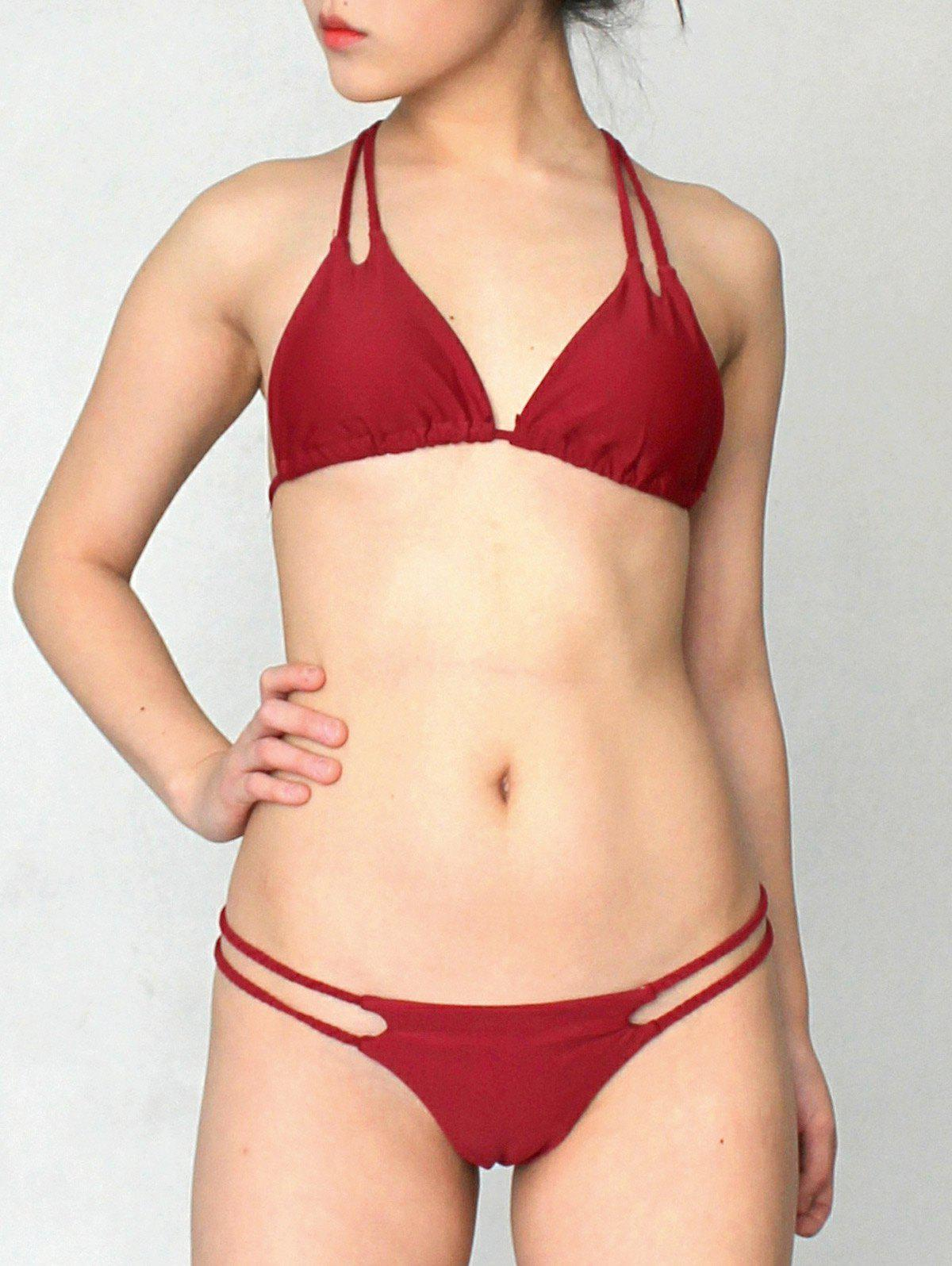 Stylish Halter Solid Color Lace Up Women's Bikini Set - WINE RED S