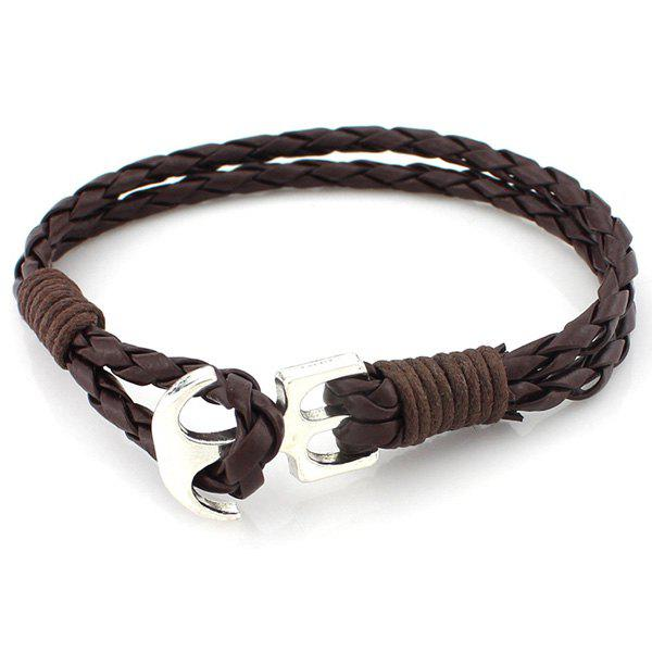 Retro Multilayer Anchor PU Leather Rope Knitted Bracelet