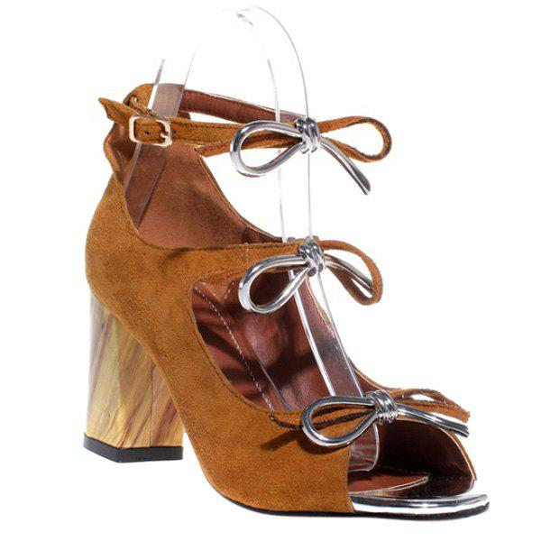 Stylish Bow and Chunky Heel Design Women's Sandals - BROWN 39