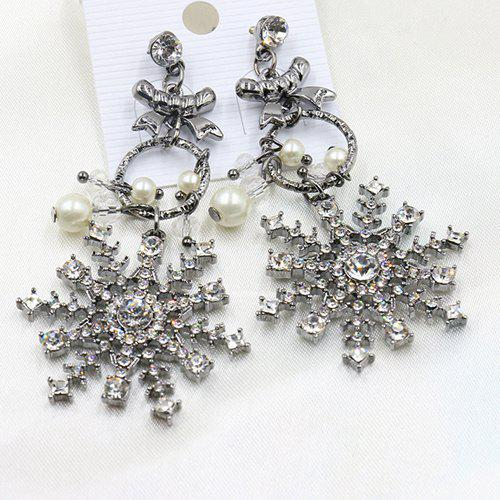 Pair of Faux Pearl Rhinestoned Snowflake Earrings - GUN METAL